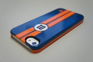 iPhone5用Trexta 本革張りハードケース レトロレーサー(ブルー/オレンジ)18296