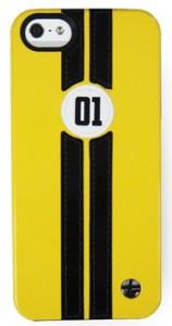 iPhone5用Trexta 本革張りハードケース レトロレーサー(イエロー/ブラック)18319